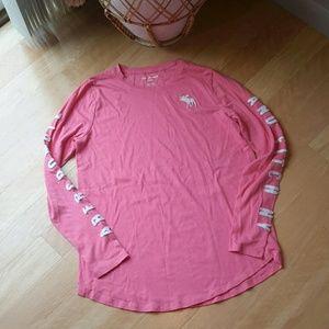 ABERCROMBIE KIDS   Girl Pink Logo Long Sleeve Tee